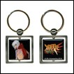 A metal keychain featuring a portrait of Jo from Burst Angel.